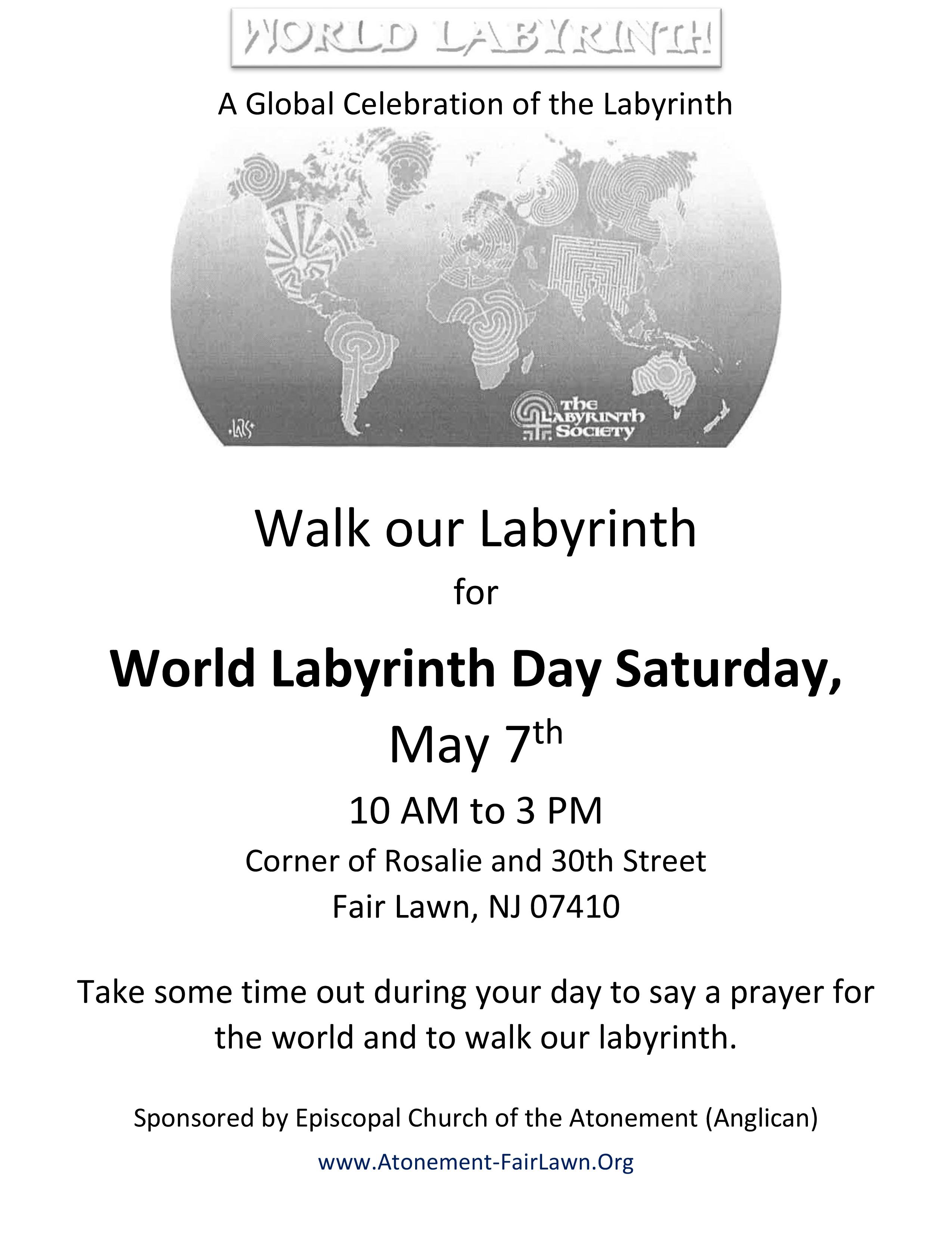 Atonement's World Labyrinth Day 2016 Flyer
